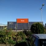 Bright orange signage