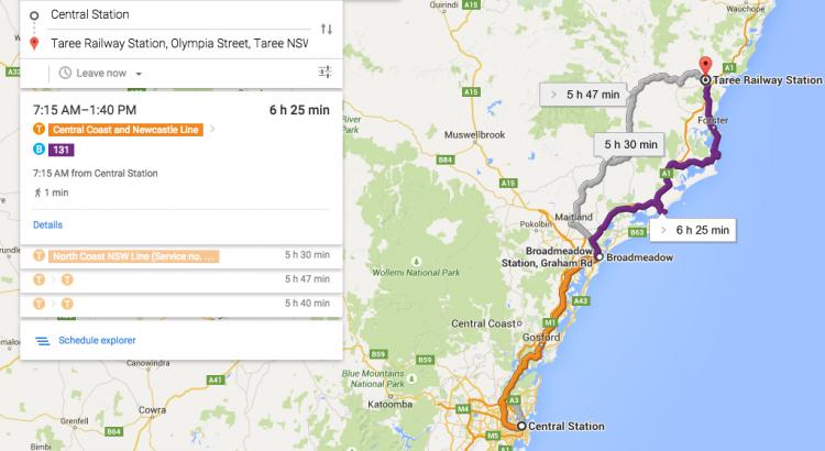 Google Maps adds regional NSW train to transit jxeeno blog