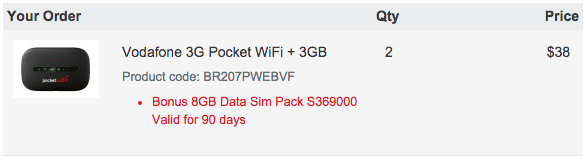 Invoice summary showing my Vodafone 3G Modem + data purchase. 22GB for $38!
