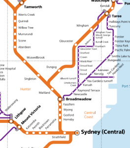 Map showing (roughly) parts of TrainLink's North Coast Line (orange).
