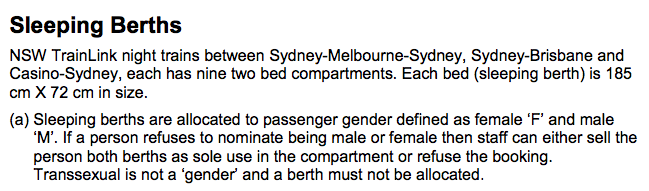 NSW TrainLink claims in its business rules that transsexual is not a gender